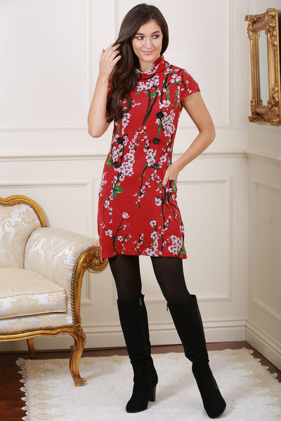 Eily Floral Print Roll Neck Knit Dress in Red - LadyVB   s.r.o - 1