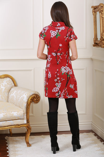 Eily Floral Print Roll Neck Knit Dress in Red - LadyVB   s.r.o - 4