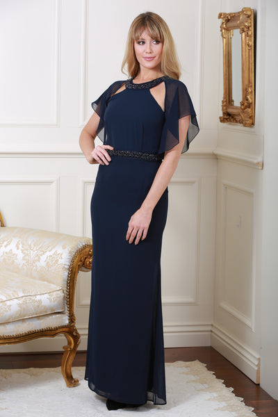 Olivia Navy Cape Dress - LadyVB   s.r.o - 1
