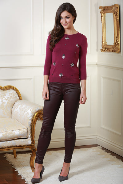 Lorraine Burgundy Jumper with Flower Sequin Embellishment - LadyVB   s.r.o - 2