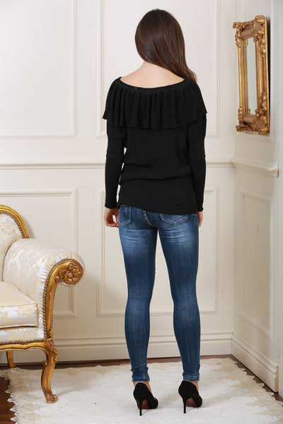 Black Metallic Frill Jumper - LadyVB   s.r.o - 2