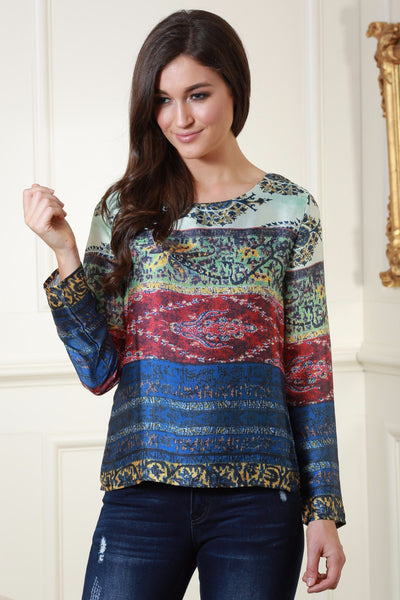 Ash Navy, Red and Green Oriental Print Satin Top - LadyVB   s.r.o - 1