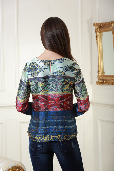 Ash Navy, Red and Green Oriental Print Satin Top - LadyVB   s.r.o - 2