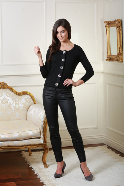 Janet Black Cardigan with Flower Sequin Buttons - LadyVB   s.r.o - 2