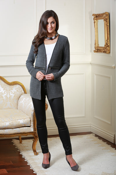 Lauren Dark Grey Long Cardigan with Leather Piping - LadyVB   s.r.o - 1