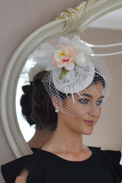 Pale Floral Fascinator with diamonds and flowers Clp - LadyVB   s.r.o - 1