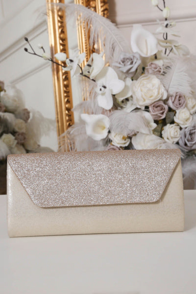 Two Toned Beige Glitter Clutch Bag - LadyVB   s.r.o - 1