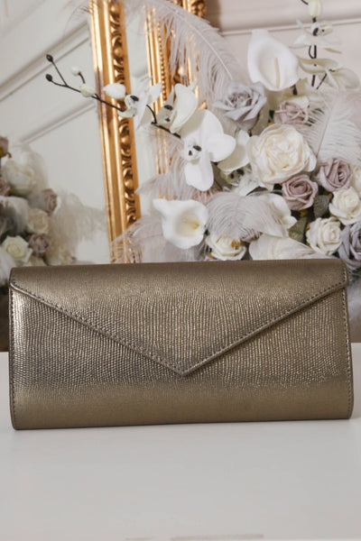 Khaki Gold Shimmer Envelope Clutch Bag - LadyVB   s.r.o - 1