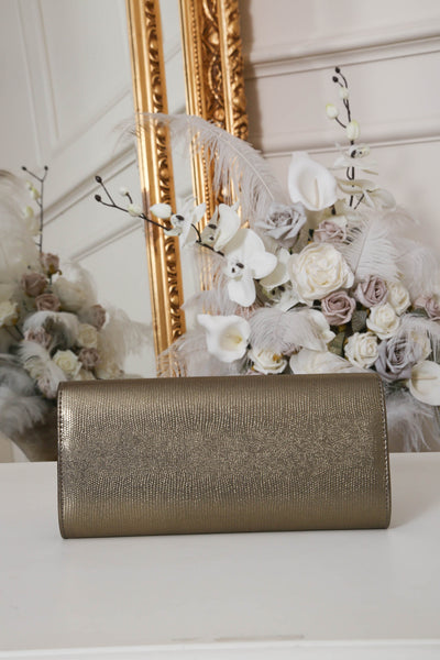 Khaki Gold Shimmer Envelope Clutch Bag - LadyVB   s.r.o - 2