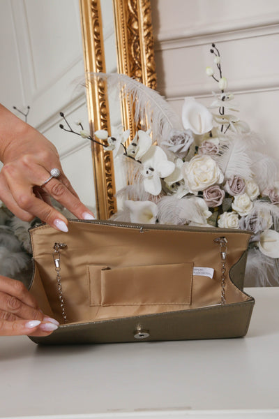 Khaki Gold Shimmer Envelope Clutch Bag - LadyVB   s.r.o - 3