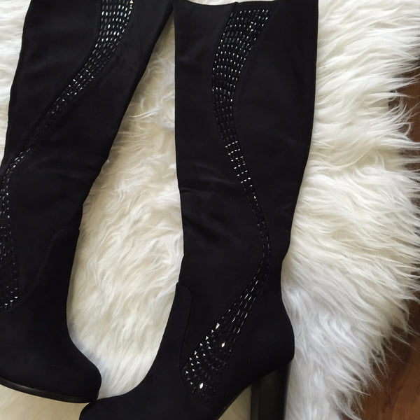 Samantha Black Knee High Heel Boot Glimmer down Side - LadyVB   s.r.o - 2
