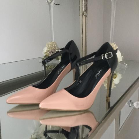 Renee Nude and Black Patent Strap Shoe - LadyVB   s.r.o - 2