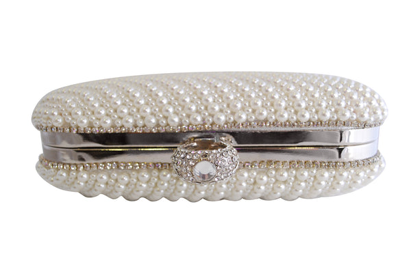 Silver Pearl Clutch Bag with Diamante RIng Clasp - LadyVB   s.r.o - 2