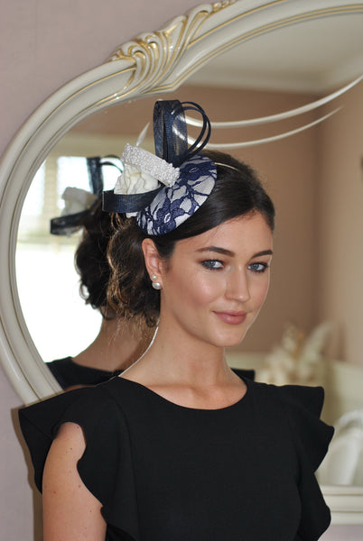 Bespoke Navy and Cream Fascinator - LadyVB   s.r.o - 1