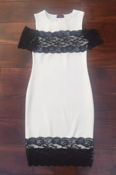 Shonagh White and  Black Lace Dress - LadyVB   s.r.o