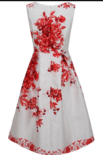 Red Floral Swing Dress - LadyVB   s.r.o - 6