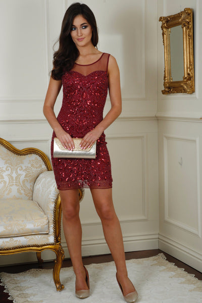 Chantelle Wine Sequin Dress - LadyVB   s.r.o - 1