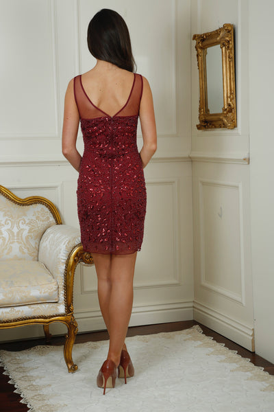Chantelle Wine Sequin Dress - LadyVB   s.r.o - 3