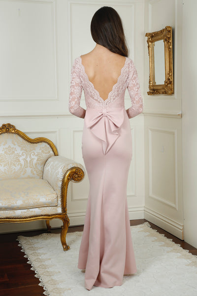 Billie Nude Open Back Maxi Dress with Bow Detail - LadyVB   s.r.o - 2