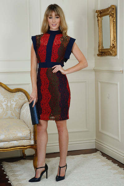 Edel Navy and Red High Collar Panelled Lace Dress Multi - LadyVB   s.r.o - 2