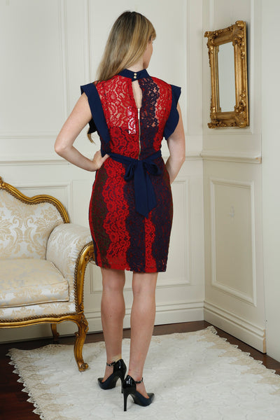 Edel Navy and Red High Collar Panelled Lace Dress Multi - LadyVB   s.r.o - 3