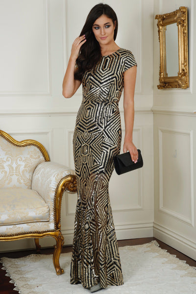 Cynthia Gold and Black Sequin Open Back Maxi Dress - LadyVB   s.r.o - 1