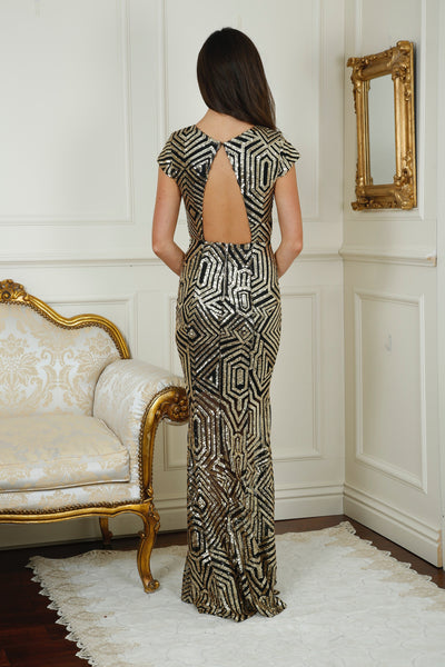 Cynthia Gold and Black Sequin Open Back Maxi Dress - LadyVB   s.r.o - 4