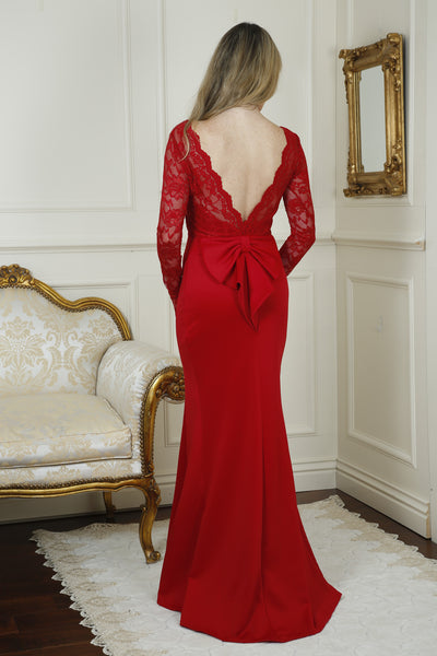 Billie Red Open Back Maxi Dress with Bow Detail - LadyVB   s.r.o - 4