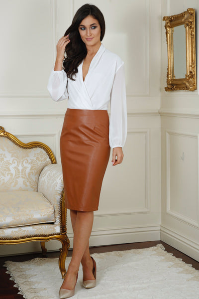 Mika Tan Leather Midi Skirt - LadyVB   s.r.o - 1