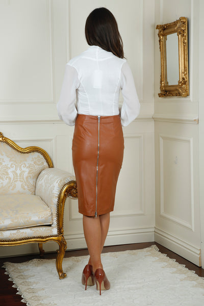 Mika Tan Leather Midi Skirt - LadyVB   s.r.o - 4