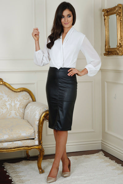 Hillery Black Leather Look PencilSkirt - LadyVB   s.r.o - 1