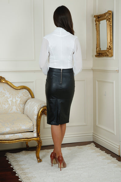 Hillery Black Leather Look PencilSkirt - LadyVB   s.r.o - 2