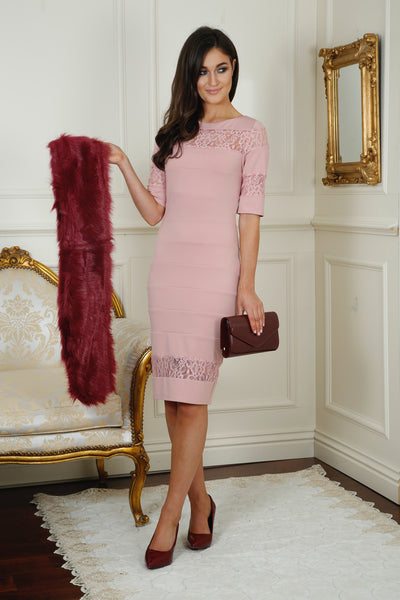 Shelby Blush Lace Insert Midi Dress - LadyVB   s.r.o - 2