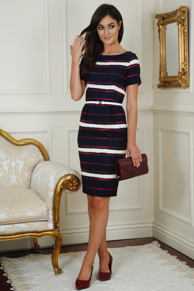 Cara Striped Curvy Pocket Dress - LadyVB   s.r.o - 1