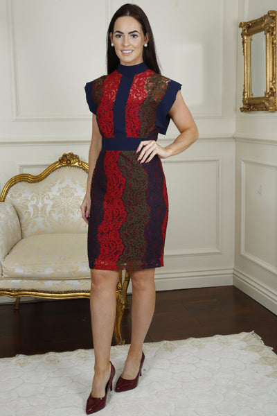 Edel Navy and Red High Collar Panelled Lace Dress Multi - LadyVB   s.r.o - 1