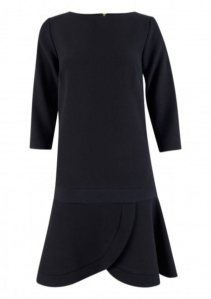 Carmen Navy Long Sleeve Gathered Hem Dress - LadyVB   s.r.o - 5