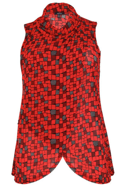 Ciara Cowl Neck Red Patterned Wrap Top - LadyVB   s.r.o - 3