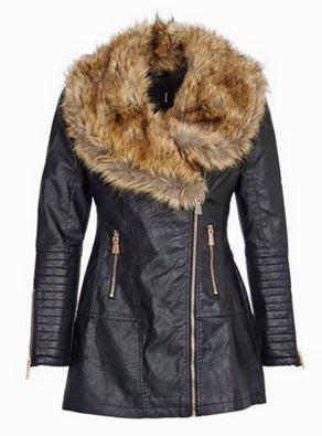 Clara Leather Zip Up Black Jacket with Detachable Fur Collar - LadyVB   s.r.o - 5