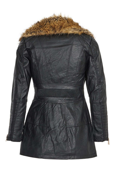 Clara Leather Zip Up Black Jacket with Detachable Fur Collar - LadyVB   s.r.o - 6