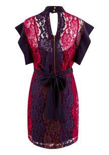 Edel Navy and Red High Collar Panelled Lace Dress Multi - LadyVB   s.r.o - 5