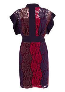 Edel Navy and Red High Collar Panelled Lace Dress Multi - LadyVB   s.r.o - 4