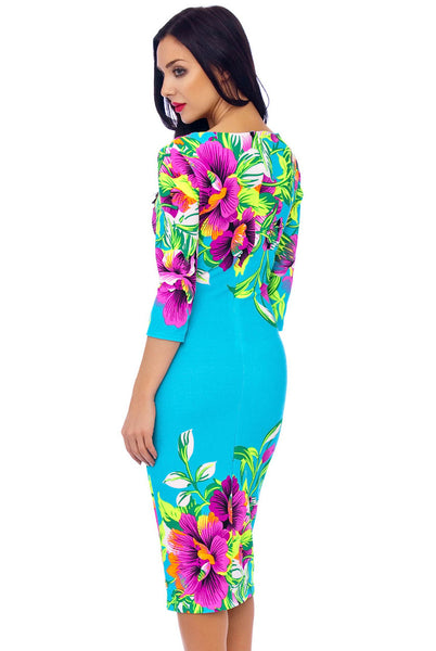 Turquoise Floral stretch Dress - LadyVB   s.r.o - 5