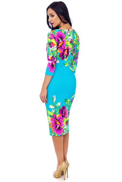 Turquoise Floral stretch Dress - LadyVB   s.r.o - 7