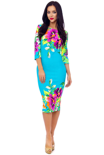 Turquoise Floral stretch Dress - LadyVB   s.r.o - 4