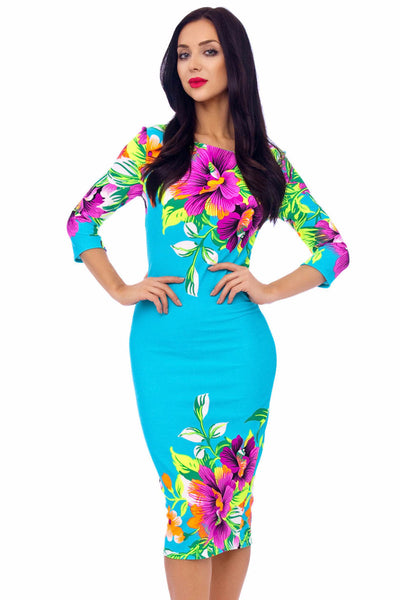 Turquoise Floral stretch Dress - LadyVB   s.r.o - 3