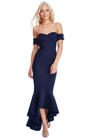 Navy Fishtail Dress - LadyVB   s.r.o - 3
