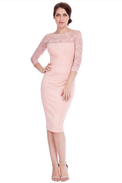 Bethany Nude Fitted Midi Lace Dress - LadyVB   s.r.o - 2