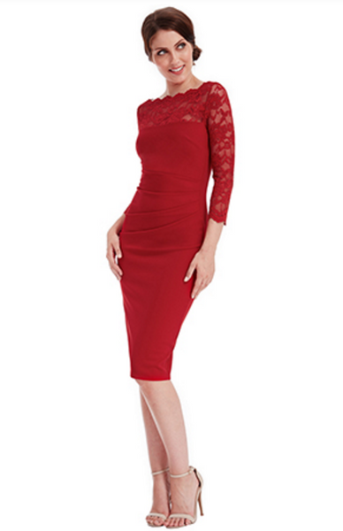 Bethany Red Fitted Midi Lace Dress - LadyVB   s.r.o - 2