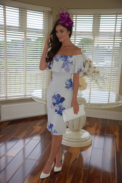 Mia White and Blue Ruffle Floral Off the Shoulder Dress - LadyVB   s.r.o - 1