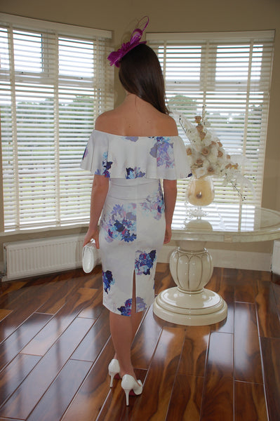 Mia White and Blue Ruffle Floral Off the Shoulder Dress - LadyVB   s.r.o - 2
